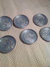 Set of 6 Hand Forged Aluminum Metal Everlast Coasters Vintage look Decor