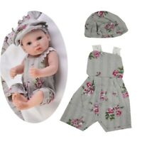 Lovely 3 Pieces Baby Dolls Clothes Overalls Beret Hat Carpet for 10-11inch
