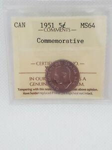 Canada 5 Cent 1951 Commemorative Silver Coin MS 64
