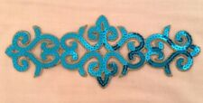 Azul Aqua Lentejuelas Bordado Parche Encaje De Adorno Motivo Vestido irlandés Traje De Baile