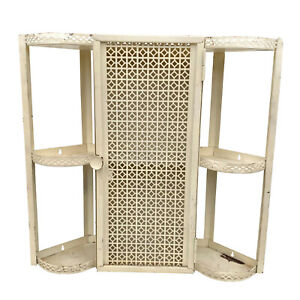 Vintage Boho Chic White Metal Corner Wall Hanging Shelf Cabinet