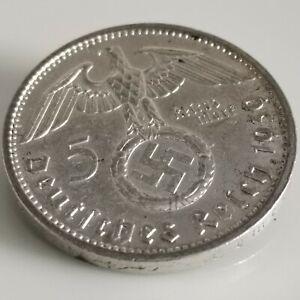 German 5 Reichsmark (1939 A) 0.900 silver coin Third Reich WW2