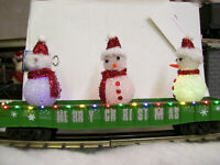 Brand New MTH GREEN O Gauge Christmas Gondola w/ LED Lights & Lighted Snowmen