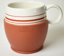 STARBUCKS STRIPED COFEE MUG CUP 2004 15 OZ CUSTOM ORANGE RUBBER GRIP COOZY
