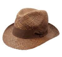 Chapeau fedora paille pliable homme ou femme Borsa Raphia - marron