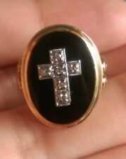 Victorian Onyx and Diamonds Cross Ring Mourning Memorial Yellow Gold