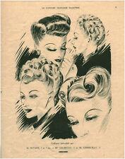 Publicité ancienne la coiffure française illustrée mode issue de magazine