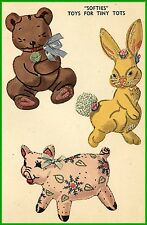Vintage PATTERN 7268 Stuffed Toy Pattern for Felt Animals Bear Pig 1940s