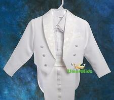 5 Pcs Set Boy Formal Wedding Suit Tuxedo Tail Page Boy White Baby Size 1 ST001A
