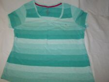 VGC Ladies S/S Green Mix Striped T-Shirt From TU Size 16