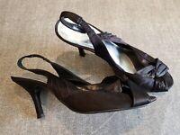 Barratts size 5 (38) black satin peep toe slingback kitten heel court shoes