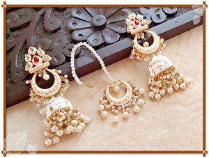 Bollywood Style Gold Plated Enameled Indian White Jhumka Earrings Tikka Jewelry