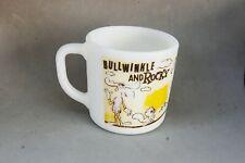 Rocky & Bullwinkle Milk Glass Mug Cup Vintage Pat Ward Cartoon Character