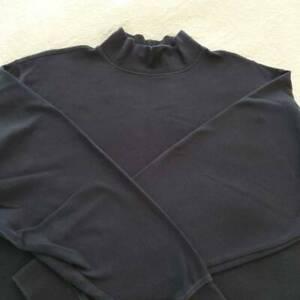 L.L Bean Mens Pullover T-Shirt Black Mock Turtleneck Long Sleeve 100% Cotton L