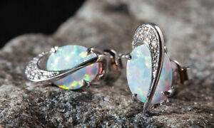 Sevil 18K White Gold Plated Created Opal Wave Stud Earrings W Swarovski Elements