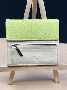 GG440 GUCCI GG Canvas Leather Compact Trifold Wallet   Make this yours today!