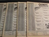 Set of (4) Vintage 1984 Los Angeles Olympics- Olympic Record Newspapers. RARE!