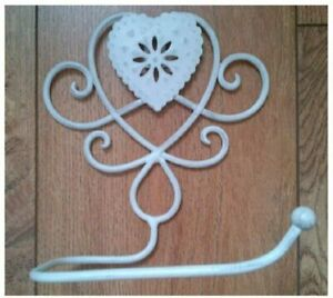 Toilet Roll Holder Distressed Ivory Off White Metal Heart Design Wall Mounted