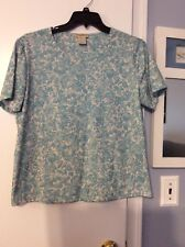 EUC! Ladies Travelsmith Crewneck Top, S/S, Blue/White Floral, Size XL