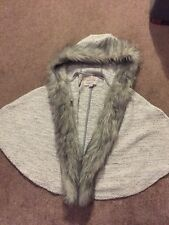 Girls River Island Cape Coat Jacket Fur Trum Age 5-6 Grey