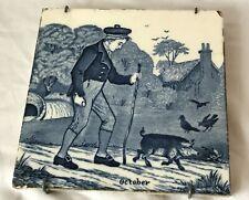 Victorian Josiah Wedgwood Etrupia Blue & White Calendar Ceramic Tile - October