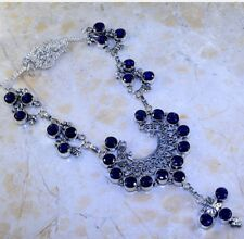 ABSOLUTELY STUNNING WATER SAPPHIRE IOLITE MOON TRIPLE DANGLE 925 SILVER NECKLACE