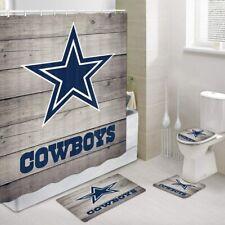 Cowboy Shower Curtains Set, Cowboys on Rustic Wooden Bath Toilet  Cover 4 Pcs