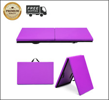 """Costway Purple 6'x2"""" Gymnastics Mat Thick Two Folding Panel Gym Fitness Exercise"""