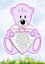 GRANDAUGHTER TEDDY SHAPED MEMORIAL BEREAVEMENT GRAVESIDE  CARD & FREE HOLDER