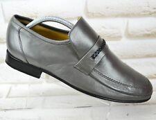 BARKER Grey Leather Mens Formal Casual Slip On Shoes Loafers Size 7.5 UK 41.5 EU