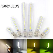 Mini USB LED Luz de noche 3/8LED 5V Lámpara Gadget Libro De Lectura Portátil Powerbank
