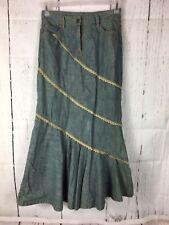 Vtg. Jeanology Denim Chambray Skirt Crochet Trim Prairie Modest 6