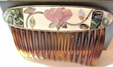 VINTAGE WHITE ENAMEL ABALONE ROSE HAIR COMB DECORATIVE PRETTY ORIENTAL