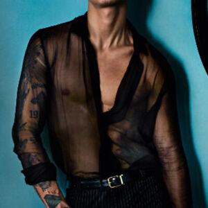 Men's Mesh Long Sleeve Shirt See Through Mesh Net T Shirt Clubwear Tops Blouse