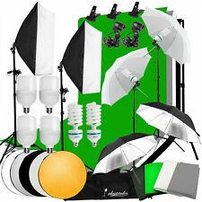 Photo Studio Softbox Umbrella Lighting Kit Background Support Stand 4 Backdrop