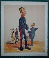 1876 Victoriano Militar Estampado ~Recruit~ Comic Caricatura Drolleries