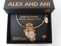 Alex and Ani Hand of Fatima III Bangle Bracelet ROSE GOLD NEw Tag Box Card