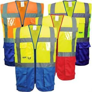 Portwest C476 HI VIS Warsaw Executive Vest Safety Jacket Radio Loop ID Pocket