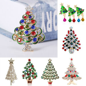 Fashion Christmas Tree Crystal Star Bell Brooch Pin Costume Women Jewelry Gifts