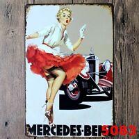 Metal Tin Sign Mercedes benz Decor Bar Pub Home Vintage Retro Poster Cafe ART