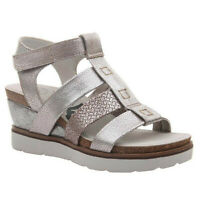 Women's OTBT NEW MOON Silver Sticking Strap Gladiator Wedge Sandals Shoes