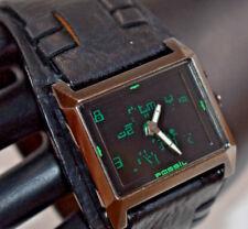 Ultra RARE Men's Fossil Big Tic Matrix Leather Cuff Watch Jr8340 NEW BATTERIES!