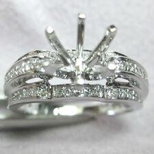 Natural Diamond Wedding Semi Mount Ring 8.0mm Round Cut Solid 14k White Gold
