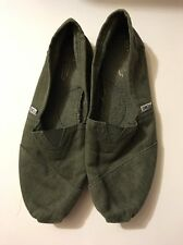 TOMS Men's Classic Army Green Canvas Shoes US Size 10.5