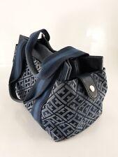 Womans Tommy Hilfiger Navy Blue Signature Logo Satchel Handbag Purse