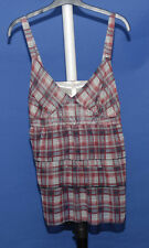 ~RED/WHITE/BLUE FRILLED V NECK STRAPPY TOP~SIZE L~