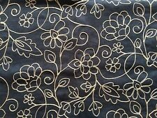 FAB P KAUFMANN ISLAND EASE OCEAN NAVY BLUE EMBROIDERED LINEN FABRIC OUTLET BTY