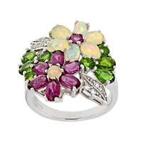 Fashion Women 925 Silver Jewelry Multicolor Topaz Wedding Ring Size 6-10