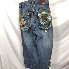 PEPE Embroidered Tiger Dragon Jeans Mens Denim Long Shorts / Short Pants Baggy