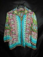 Notations 2X Blue Green Brown Floral Shirt Sheer Blouse Button Front 3/4 Sleeve